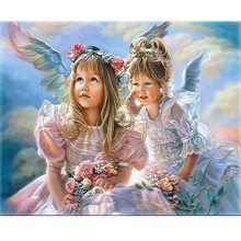 RIHE DIY Oil Painting By Numbers Little Girl Angel kid Home Decor Canvas Modern Wall Art living room Acrylic Paint