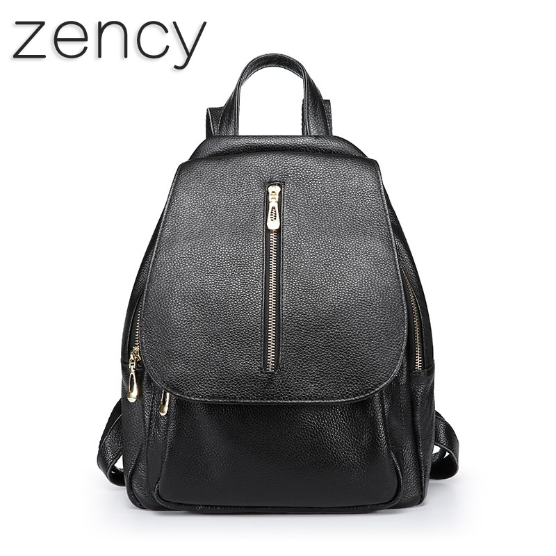 ZENCY Top Layer Genuine Leather Women Backpack Shopping Bags Girl Backpacks Real Leather Girl s School