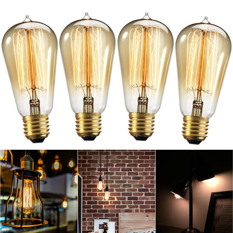 4 Pcs Edison Bulb 60W with Squirrel Cage Filament Teardrop Design Dimmable Light Bulbs for Chandeliers Lights Fixtures artevaluce светильник подвесной cage filament 15х24 см