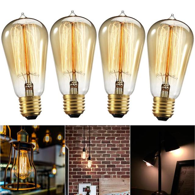 4 Pcs Edison Bulb 60w With Squirrel Cage Filament Teardrop Design Dimmable Light Bulbs For Chandeliers