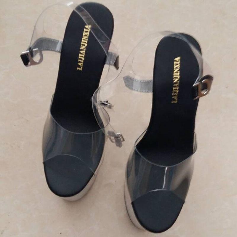Tentation Clair E051 2017 Sandales Talons Sexy Chaussures clair Ultra Hauts 20 forme Pouce Cm Stripper 8 Laijianjinxia Cristal Plate pqEzT