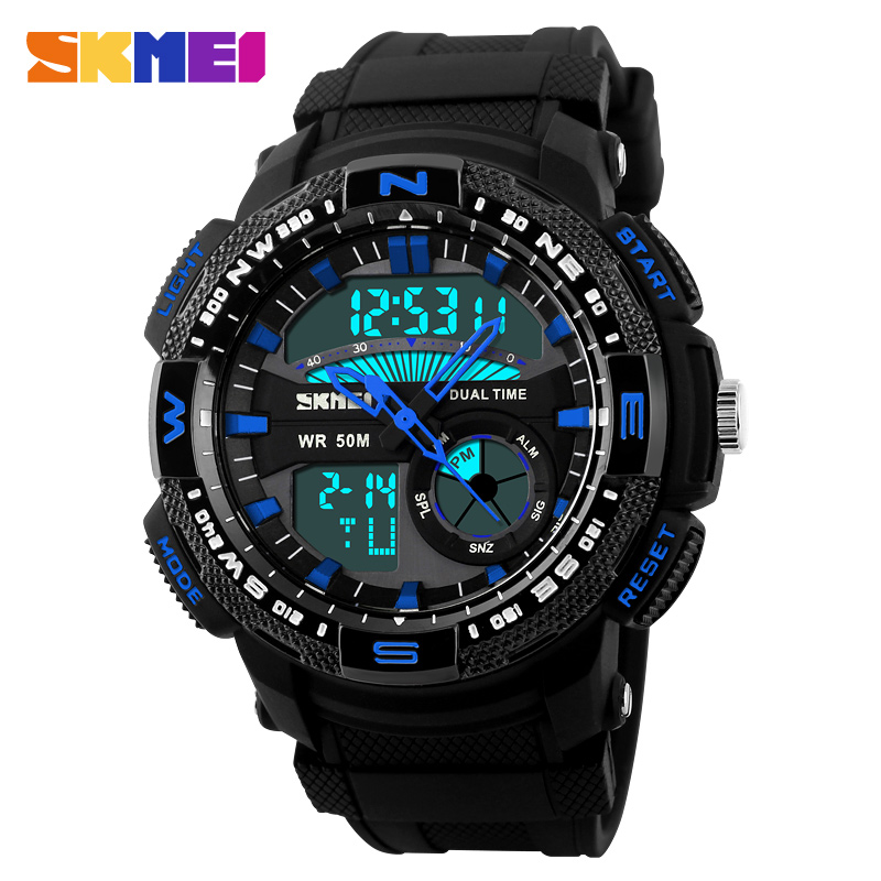 Prix pour Skmei hommes sport montres homme mode chaude montre à quartz occasionnel horloge numérique étanche montres militaires relogio masculino