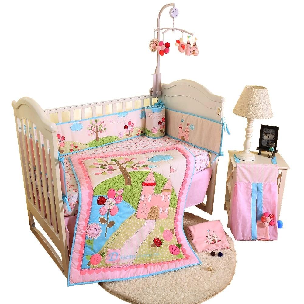 4Pcs Cotton Crib Bed Set For Boy Girl Cartoon Baby Bedding Set Includes Sheet Comforter Skirt Bumper