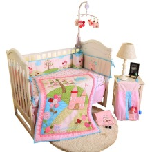 цены 4Pcs Cotton Crib Bed set For Boy Girl Cartoon Baby Bedding Set Includes sheet comforter skirt bumper