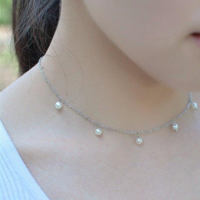 6c1e2d397e28 simulated pearl choker 2017 fashion jewelry chain pendant necklace chokers  collares vintage gargantilla