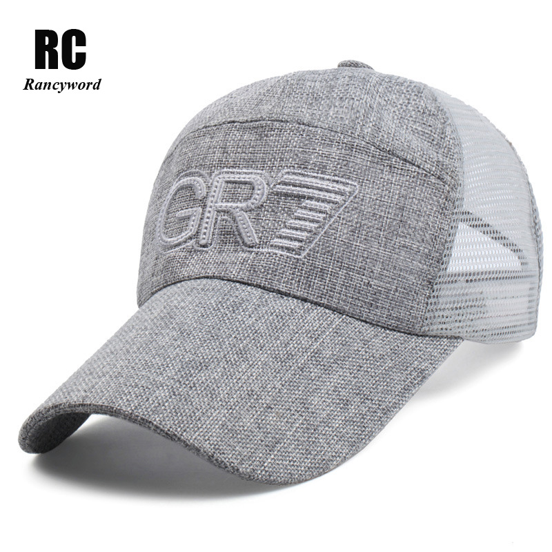 [Rancyword] New baseball cap for Men Summer male mesh Hats letter Golf sports hat Linen snapback Caps RC1152