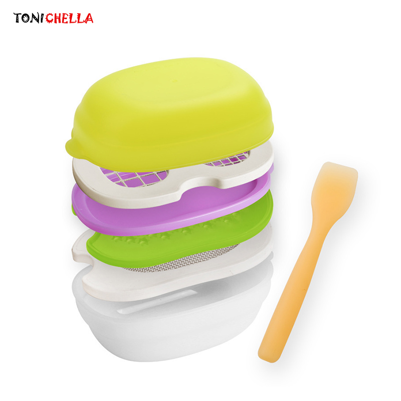 Infant Feeding Bowl Baby Food Mill Dish Handmade Grinding Tableware Vegetables Pate Dinnerware Toddler Foods Container T0573