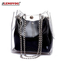 Transparent PVC Buckle Shoulder Bag set Clear Jelly Handbag Purse Fashion Summer Beach Bag 2019 Chain Candy Crossbody Tote Bags 2017 summer transparent chain bag and snakeskin print clutch 2 bags set chain shell hand bag fashion shoulder beach bags women