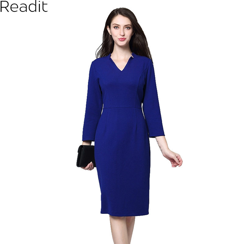 Readit Woman Spring Dress Elegant Bodycon Dress 2018 Woman Office Work Wrist Sleeve Sexy V-neck Black Knee Length Dress D2837
