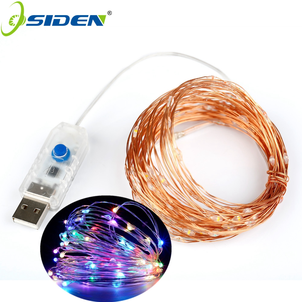 OSIDEN USB 33FT 10M snørelyd USB Opereret Copper Wire Fairy String Lights Indendørs Outdoor Christmas Wedding Decoratio