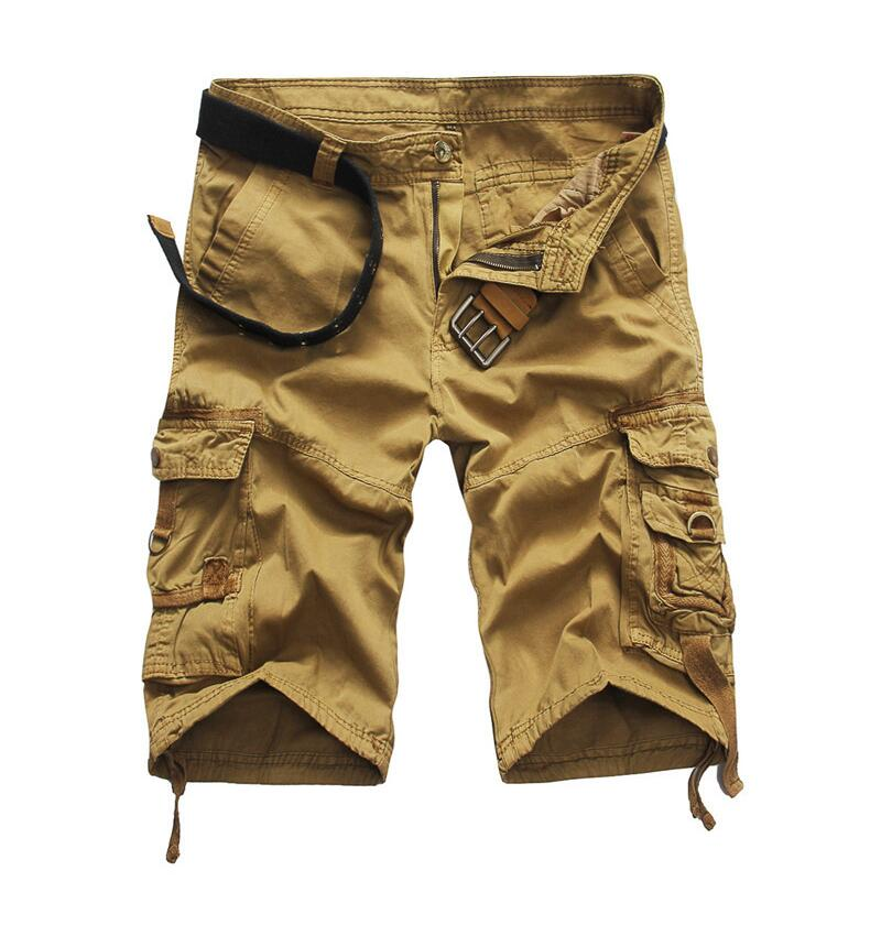 Men's Army Green Camouflage Cargo Shorts 2016 New Summer Male Cotton overalls Cargo Shorts No belt