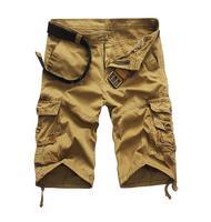 Mannen Legergroen Camouflage Cargo Shorts 2016 Nieuwe Zomer Mannelijke Katoen overalls Cargo Shorts Geen riem