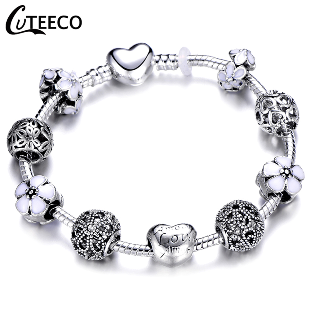 CUTEECO 925 Fashion Silver Charms Bracelet Bangle For Women Crystal Flower Fairy Bead Fit Brand Bracelets Jewelry Pulseras Mujer 22