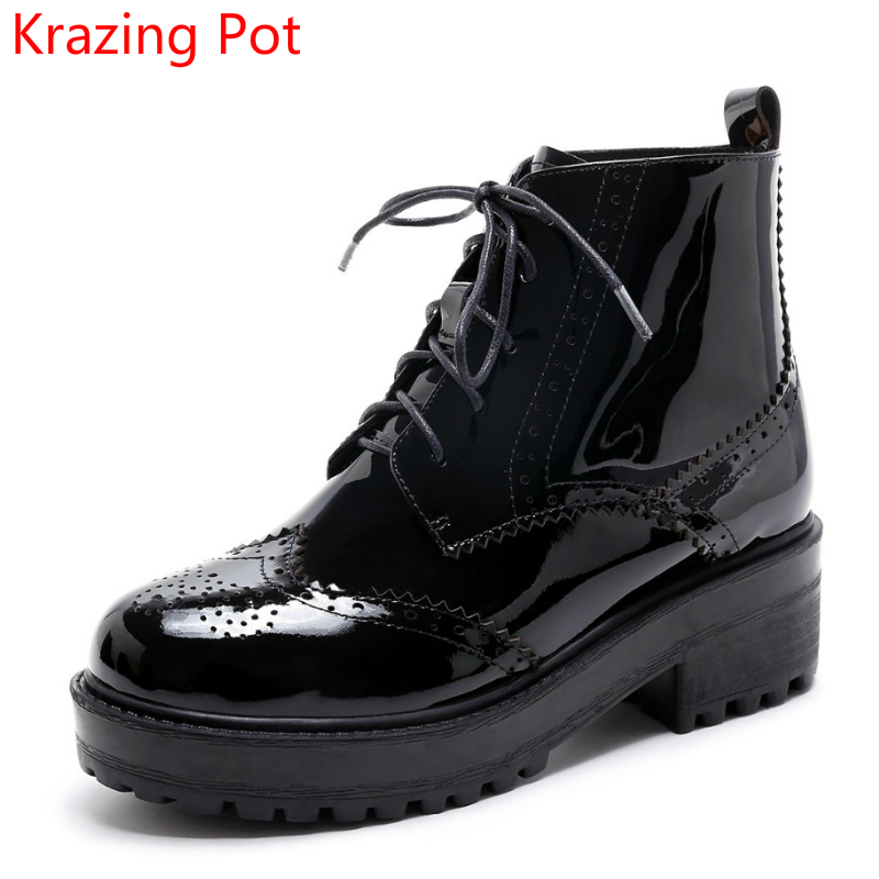 New Arrival Genuine Leather Wedges Med Heels Platform Women Round Toe Cross tied Hollow Beauty Carved