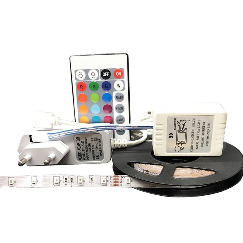5M RGB SMD 3528 LED Strip Light 12V60leds/m Waterproof Flexible Tape Ribbon Colorful Rope Light String Lamp LED Controller Power