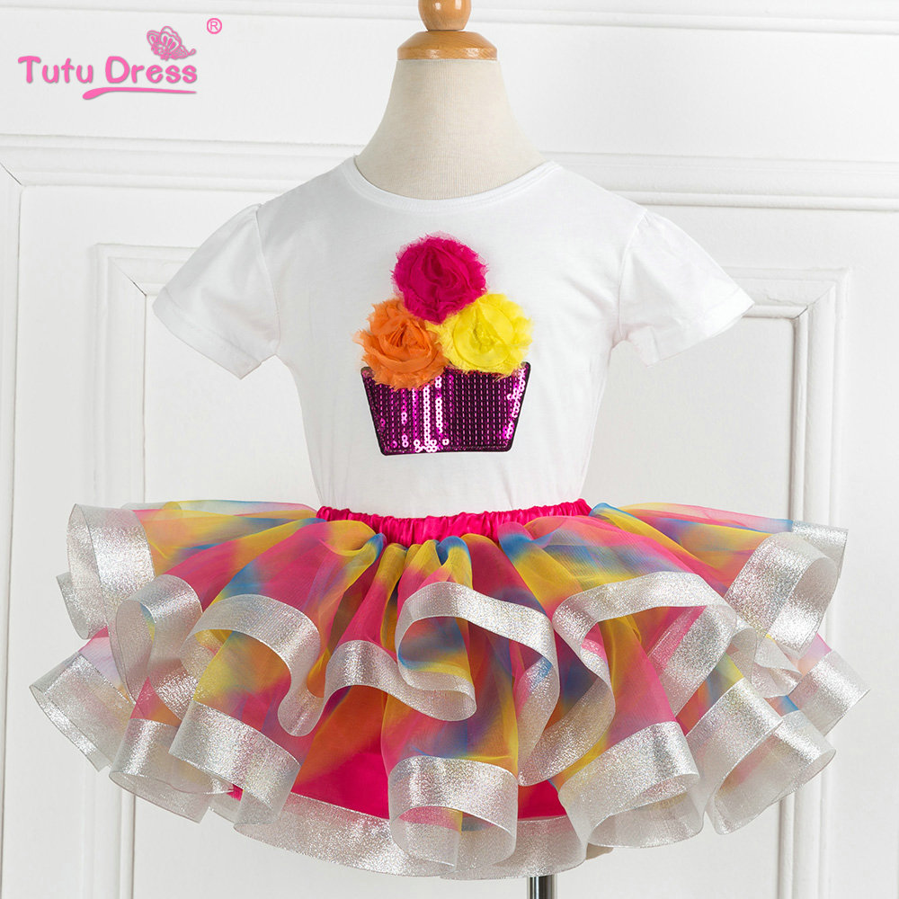 Hot saleBaby Kids Flower Short Sleeve Cotton Tops&T-shirt+Colorful Skirt Sets For 2-12 Years Children Outfits Prom Clothing two pieces kid girl set tutu summer flower cotton t shirt tutu skirt sets children outfits dance party prom clothing