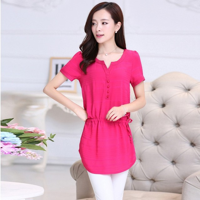 In the summer of 2015 new large size Korean women loose in the long short sleeved shirt sleeve chiffon shirt female half