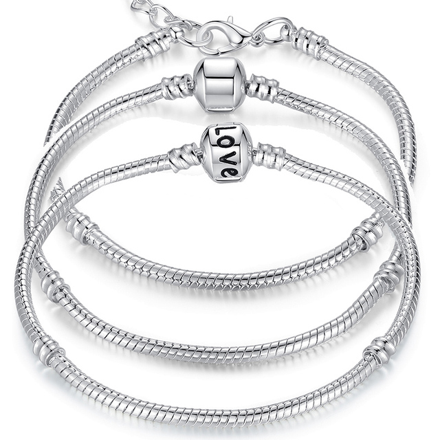 Love Snake Silver Plated 5 Styles Chain Bracelet Bangle