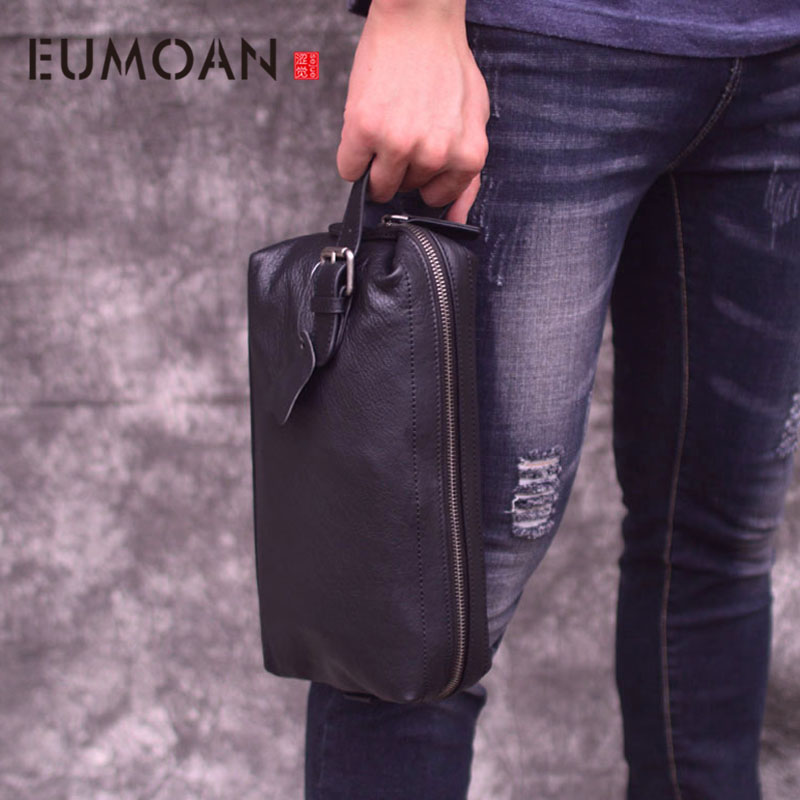 EUMOAN Clutch bag mens leather retro trend casual clutch new large capacity portable