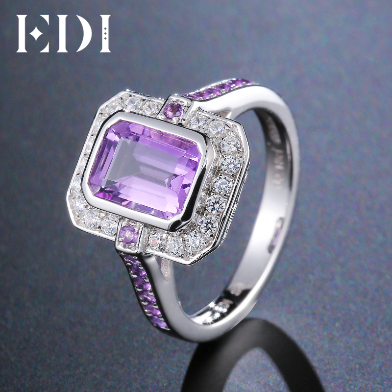 EDI 1.75 Natural Amethyst Crystal 100% 925 Sterling Silver Anniversary Rings Statement Fine Jewelry For Women edi trendy swan shape animal 100% 925 sterling silver rings for women ctue jewelry christmas gifts