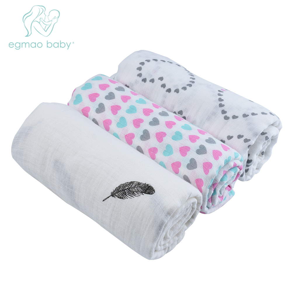 Multi-function 3pcs/Lot 100% Muslin Cotton Newborn Infant 120*120 cm Baby Swaddles Baby Blankets Baby Towel Hold Wraps