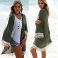 Sexy Women Lace Crochet Cover Up Summer Beach Solid Cardigan Tassel Suit