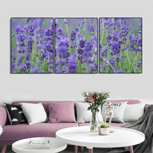 Laeacco Canvas Calligraphy Painting 3 Panel Purple Garden Posters and Prints Flower Wall Art Nordic Home Living Room Decoration стоимость