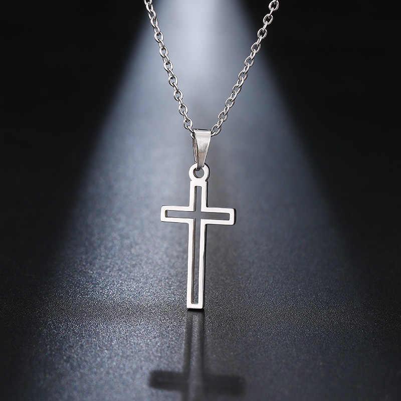 DOTIFI naszyjnik ze stali nierdzewnej dla kobiet miłośnik złota i różowego złota kolor łańcuszek z krzyżykami naszyjnik mały krzyż biżuteria religijna
