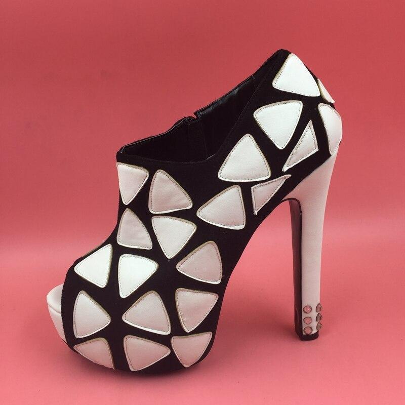 Pompes Talons Plates Noir formes Femmes Cristal rouge De Toe Haute Cône 2014 Mode Dames Noir Fond Peep Sandales Partie blanc qvxBCwxZE