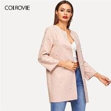 COLROVIE розовое однотонное Элегантное длинное пальто с открытым передом и жемчужинами, женская одежда, весна, корейское пальто, женские вечерние пальто, верхняя одежда