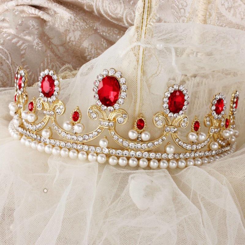 New-Sale-Europe-Style-High-quality-Red-Opal-Women-Elegant-Luxurious-Wedding-Bridal-Crown-Headwear-Wedding