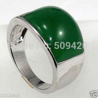 ESTATE FINE real สีเขียวหยกแหวนเงินขนาด 8-9 #