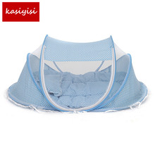 Baby Bedding Crib Netting Folding Baby Music Mosquito Nets Bed Mattress Pillow Three-piece Suit For 0-12Months Old Children