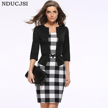 NDUCJSI Formal Woman Dress Office Sashes Women Pencil Dress Tartan Formal Girl Bodycon Dress Female Woman