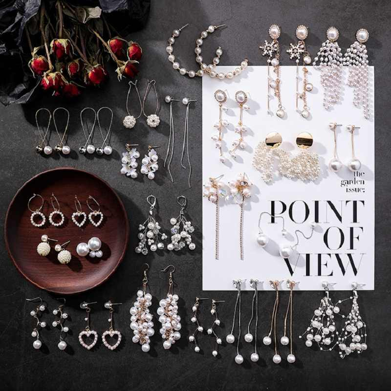 2019 Korean fashion simulated-Pearl tassel long drop Earrings for women vintage geometric heart shape jewelry party bride gifts