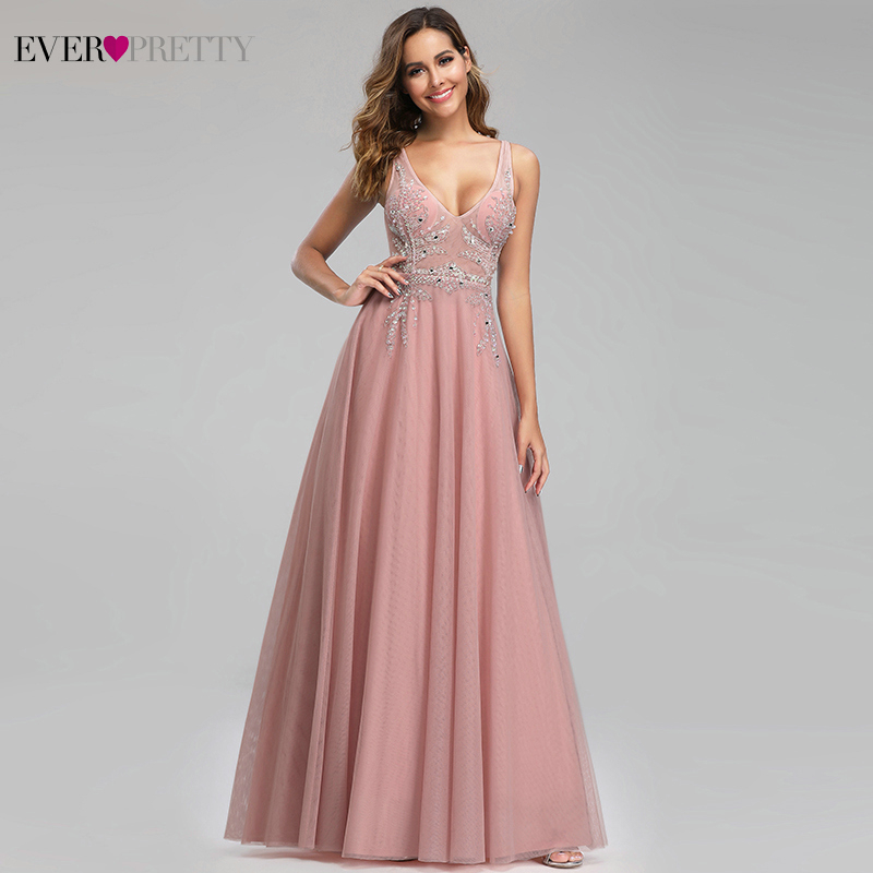 Ever Pretty Elegant Pink Evening Dresses For Women A-Line V-Neck Sexy Illusion Beaded Dresses Formal Party Gowns Robe De Soiree