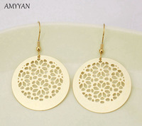 Top Quality Gold Drop Earrings Jewelry 316l Stainless Steel Round Pendant Dangle Earrings Fashion Hollow Out