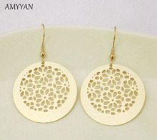 Top Quality Gold Drop Earrings Jewelry 316l Stainless Steel Round Pendant Dangle Earrings Fashion Hollow Out Disc Earrings