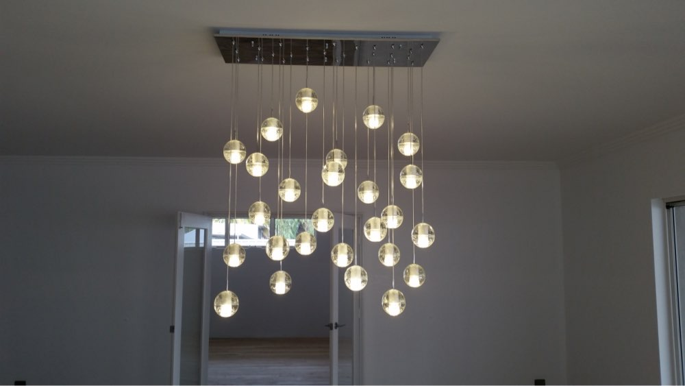 Large Foyer Modern Crystal Chandelier Staircase Chandelier Light Fixture 25 Head Rectangle Shape Free shipping