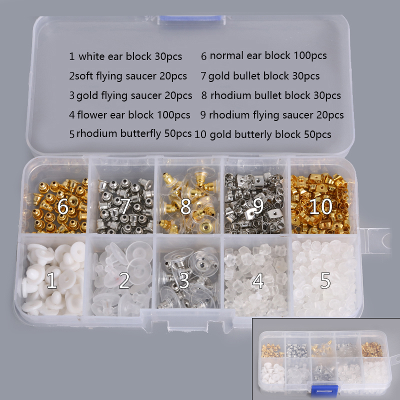 Jewelry Earrings Block-Findings Back-Stopper DIY Fashion Nuts Box-Set Kits Plugs Mixed title=