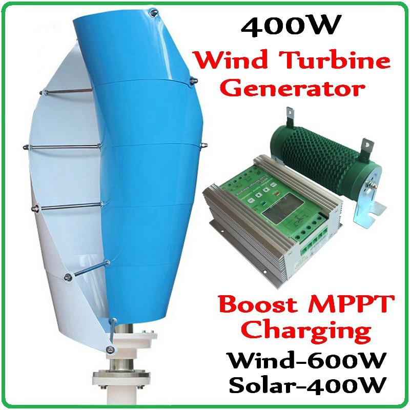 Vertical Axis Wind Turbine Generator 12V 24V 400W Wind Generator+1000W Boost MPPT Wind 600w Solar 400w Hybrid Charge Controller цена