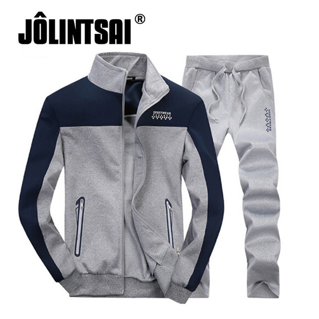 Jolintsai Spring Men Clothing Set 2017 Patchwork Fitness Tracksuits Casual Stand Collar Hoodie Sweatshirt+Pant 2 pieces set