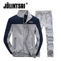 Jolintsai Spring Men Tracksuit 2017 Patchwork Sportwear Fitness Tracksuits Casual Stand Collar Hoodie Sweatshirt+Pant Set