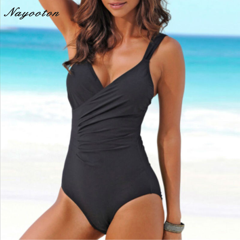 One Piece Swimsuit 2017 Women Summer Swimwear sexy Halter Top Bathing Suit Plus Size Swim Suits Push up Ruffle Solid Monokini 2017 new one piece swimsuit women vintage bathing suits halter top plus size swimwear sexy monokini summer beach wear swimming