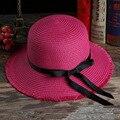 Fresca pequeña moda femenina verano nuevo sombrero de paja parasol Gran sombrero de ala ancha sombrero de playa