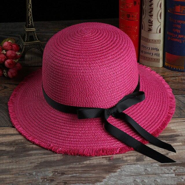 Small fresh female fashion summer new straw hat sun shade hat Large brimmed beach hat