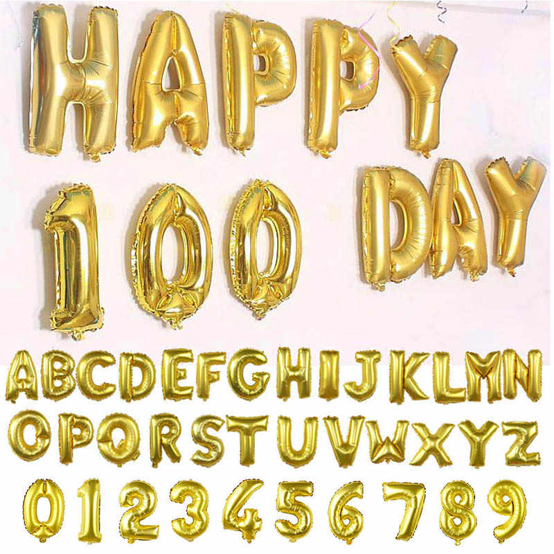 1pc 16inch Alphabet Numbers Ballons Matte Gold Foil Balloon for Wedding Birthday Party Decoration Kids Toys Baby Shower Air Ball