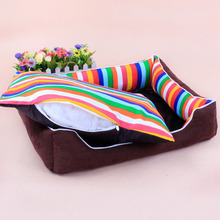 1PC Medium Size Colorful Stripe Square Dog Bed Mats With Removable Cloth Cushion Hand Wash Cat Sofa Pet Supplies 60*50*15cm