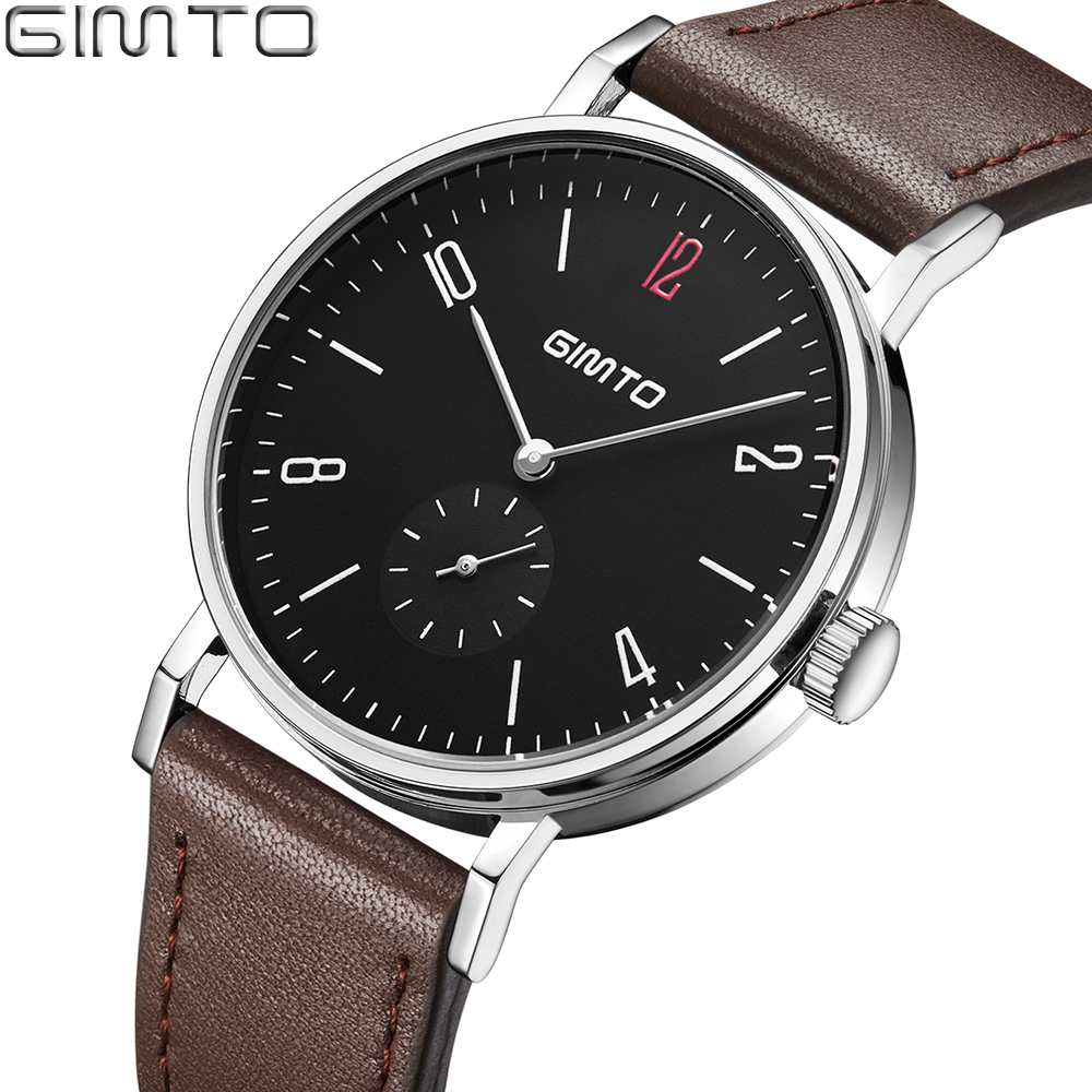 GIMTO Black Mens Watches Antique Brand Luxury Analog Quartz Business Watch Men Clock Leather Male Dress Wristwatch Reloj Hombre natural bamboo watch men casual watches male analog quartz soft genuine leather strap antique wood wristwatch gift reloje hombre