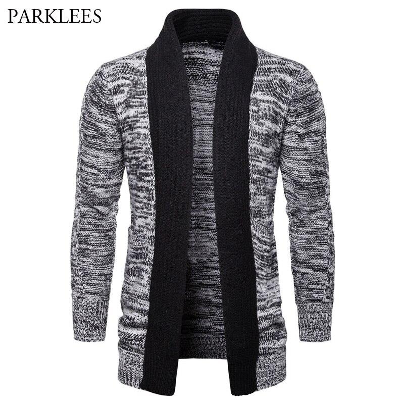 Col châle chandail hommes 2018 automne hiver épais tricots pour hommes Cardigan qualité tricoté marque mâle chandails Cardigan cape gris